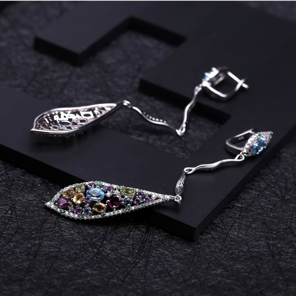 GEM'S BALLET New Multicolor Natural Blue Topaz Amethyst Peridot Citrine 925 Sterling Silver Fashion Long Drop Earrings For Women