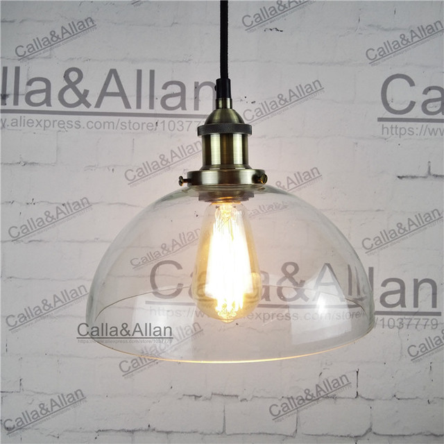 Vintage brass iron finished clear glass round shade pendant lamp vintage brass iron finished clear glass round shade pendant lamp 110v220v edison bronze fabric greentooth Image collections
