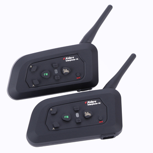 Image 4 - 4 قطعة Fodsports V4 خوذة للدراجات النارية اتصال داخلي سماعة رأس بخاصية البلوتوث 4 راكبين 1200 متر لاسلكي Intercomunicador BT راديو FM