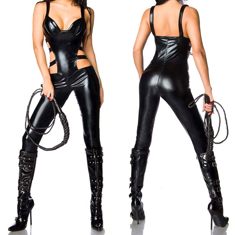 цены на 2017 New Women Sexy Leather Show Erotic Bodysuit Open Crotch Sexy Bondage Role-play Sex Product Sex Toys For Woman