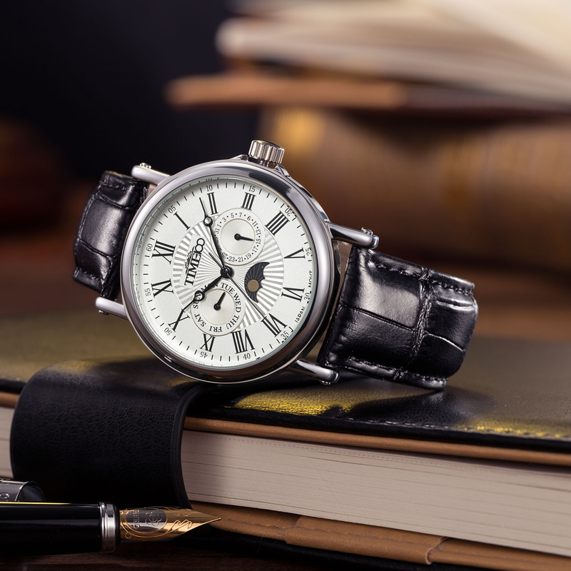 TIME100 Pánské hodinky Quartz Auto Datum Sun Phase Černý kožený řemínek Roman Numerals Business Náramkové hodinky Colck relogio masculino