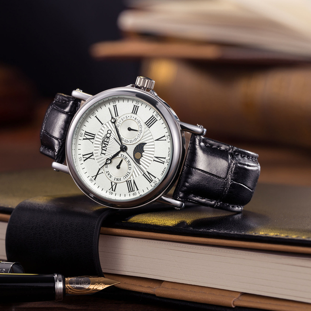 TIME100 Men's Quartz Watches Auto Date Sun Phase Black Leather Strap Roman Numerals Business Wrist Watch Colck relogio masculino