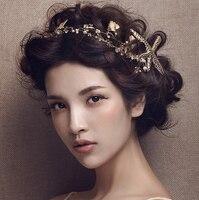 2016 Wedding Hair Accessories Luxury Tiara Handmade Gold Sea Star Pearl Beaded Headband Hairband Bride Wedding