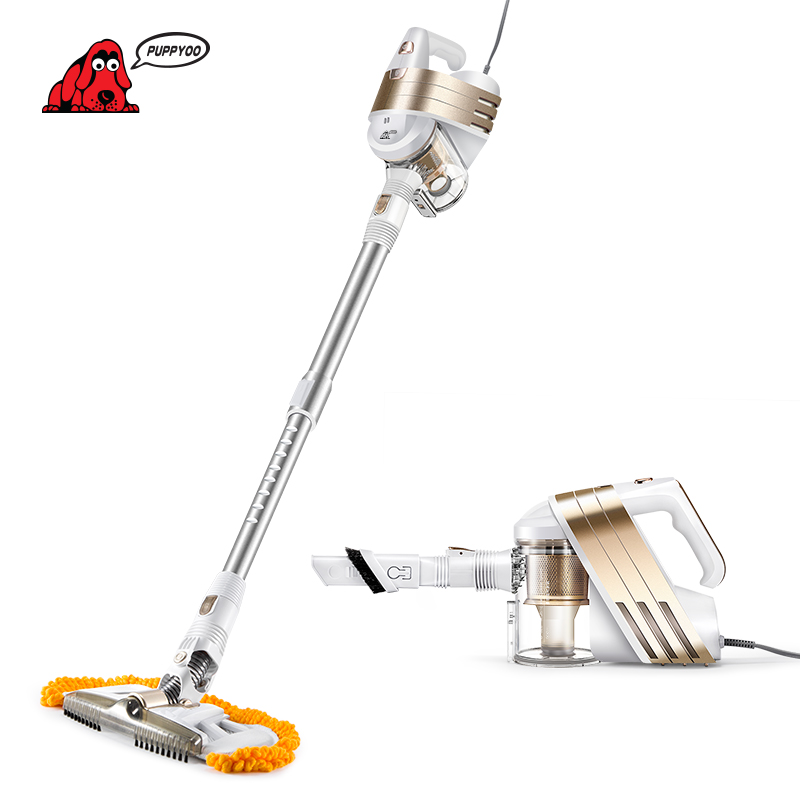 PUPPYOO Low Noise Home Portable Vacuum Cleaner Handheld Wiping & Abosorbing Dust Collector Household Mop Aspirator WP521 Gold puppyoo low noise home rod vacuum cleaner handheld dust collector household aspirator white