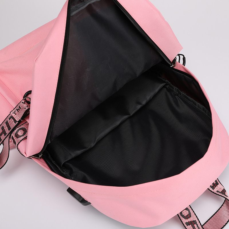 Image 4 - casual preppy style women backpack large capacity letter panelled student school backpacks USB Charging Backpack Laptop Backpack-in Backpacks from Luggage & Bags