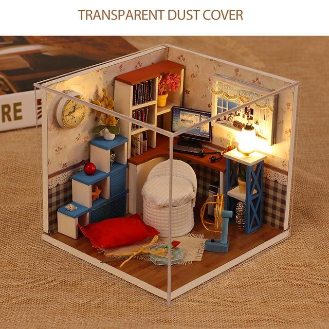 Temps chaud maison de poupée à la main 3D Miniatures maison de poupée Kit de meubles jouets enfants bricolage en bois salle de loisirs maison boîte pour enfants