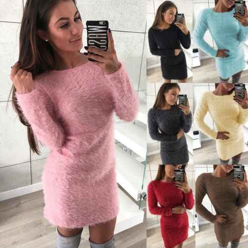 Womens Dames Gebreide Trui Jumper Mini Jurk Knitwear Winter Lange Mouw Tops