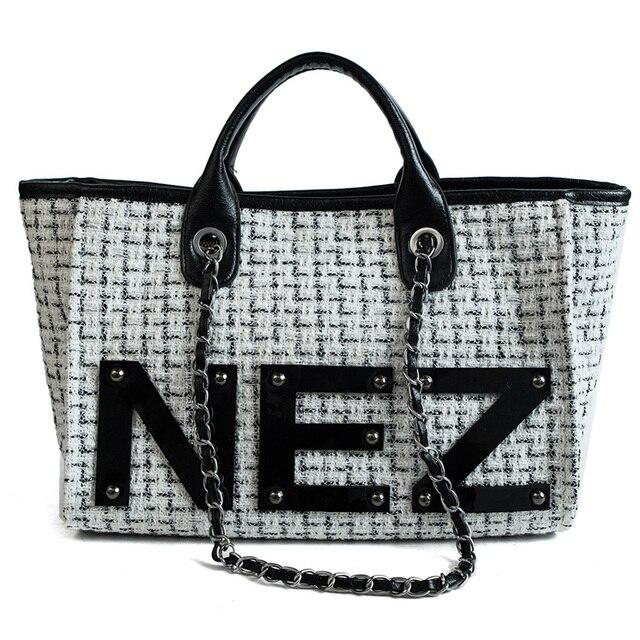 e5c91a06507e Women Totes Bag Designer Brand Women s Woolen Handbags Luxury Lady Hand Bags  Women Wool Messenger Bag Big Tote Sac Bolsos Mujer