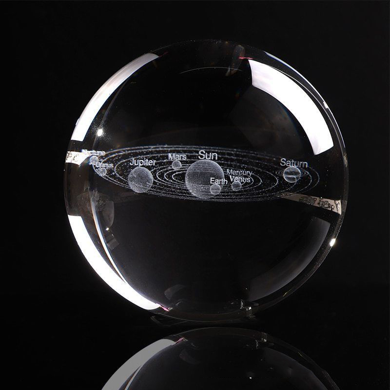 3D Galaxy Solar System Crystal Ball Laser Engraving Planets Glass Ball Globe Moon 60/70/80mm Crystal Sphere Gift Decor Ornaments
