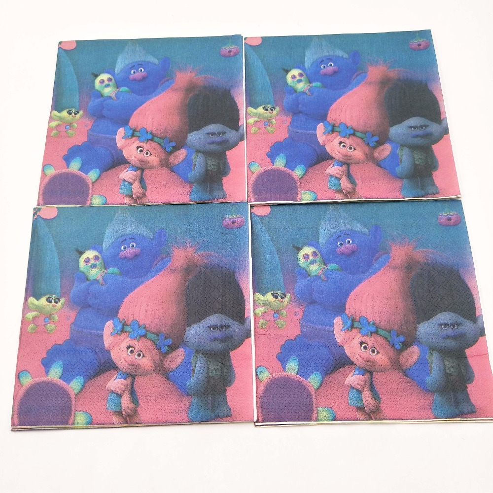 20pcs set TrollsDisposable Paper Napkins Cartoon Party For Kids Happy Birthday Decoration Theme Party Supplies girls favor in Disposable Party Tableware from Home Garden