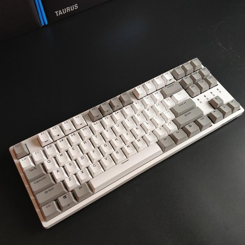 Durgod 87 taurus k320 clavier mécanique utilisant des commutateurs cherry mx pbt doubleshot keycaps marron bleu noir rouge argent commutateur - 4