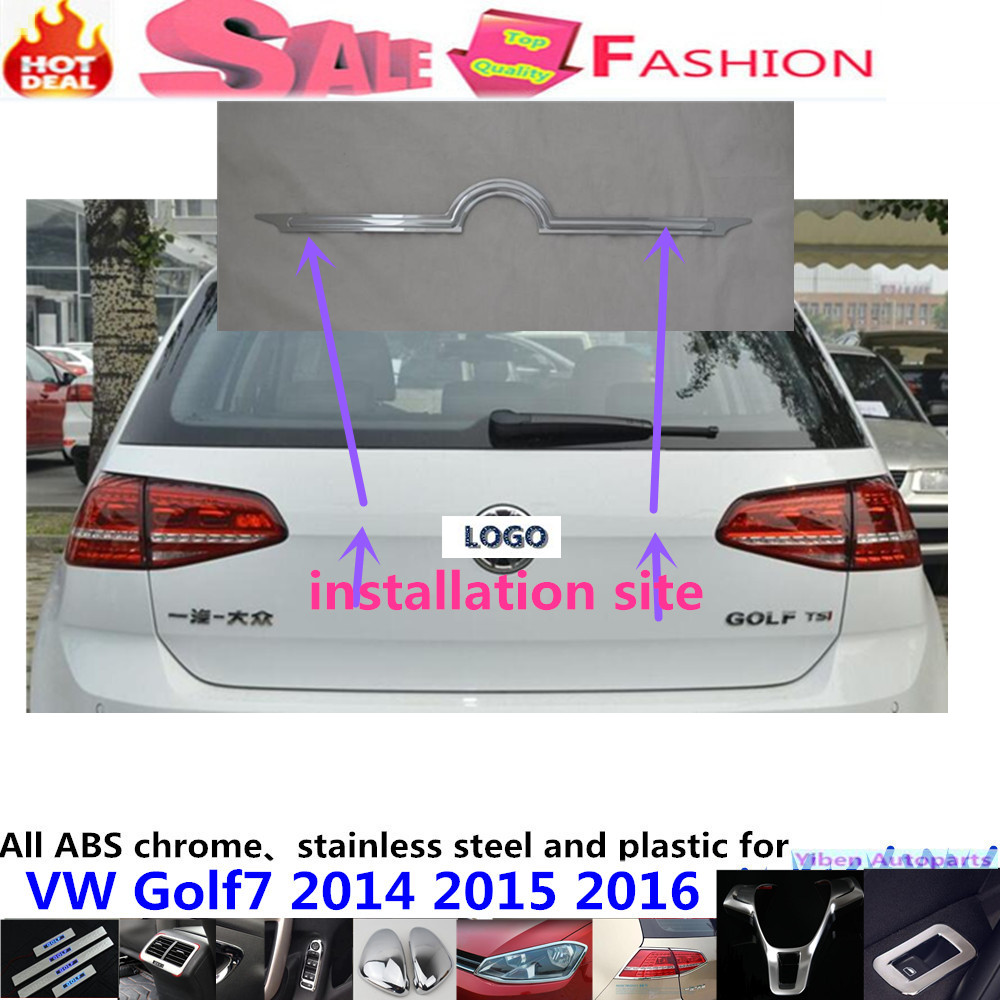 Top Car Stick body stainless steel Rear door tailgate bumper frame plate trim lamp trunk 1pcs for VW Golf7 Golf 7 2014 2015 2016 car rear trunk security shield cargo cover for volkswagen vw tiguan 2016 2017 2018 high qualit black beige auto accessories