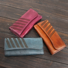 Handmade 2017 Vegetable Tanned Leather Wallets Genuine Leather Hollow Out Bag Purses Women Long Clutch Brown Wallet Card Holder