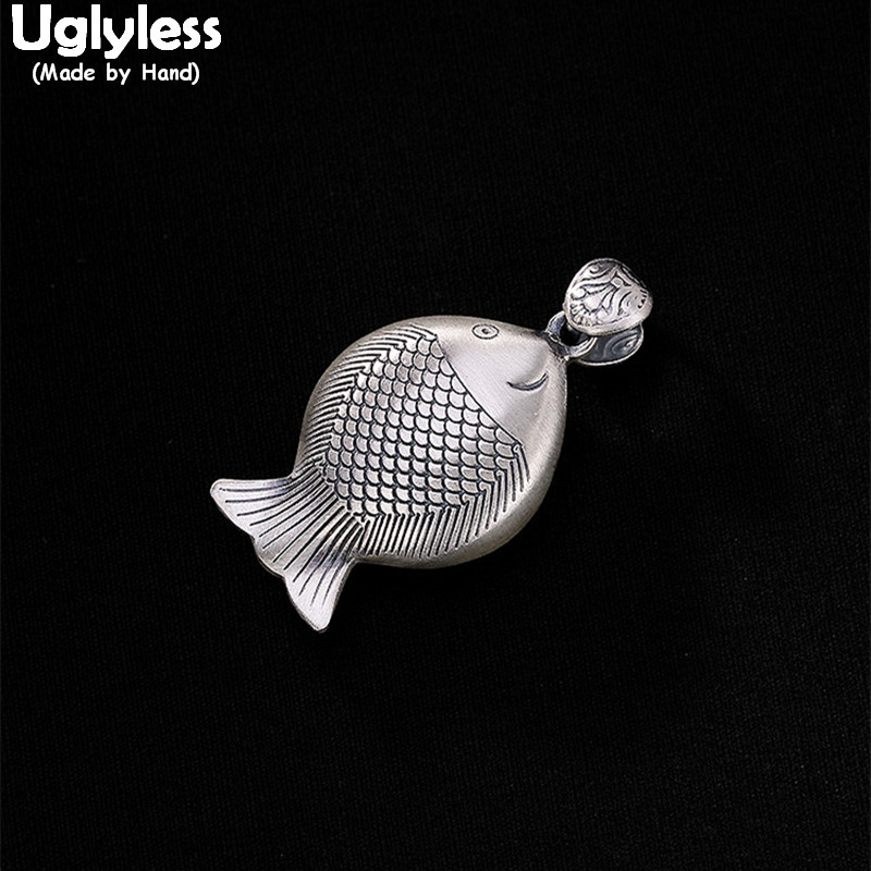Uglyless 100% Real 999 Full Silver Handmade Fat Fish Pendants Necklaces NO Chains Ethnic Thai Silver Fine Jewelry Hollow FishesUglyless 100% Real 999 Full Silver Handmade Fat Fish Pendants Necklaces NO Chains Ethnic Thai Silver Fine Jewelry Hollow Fishes