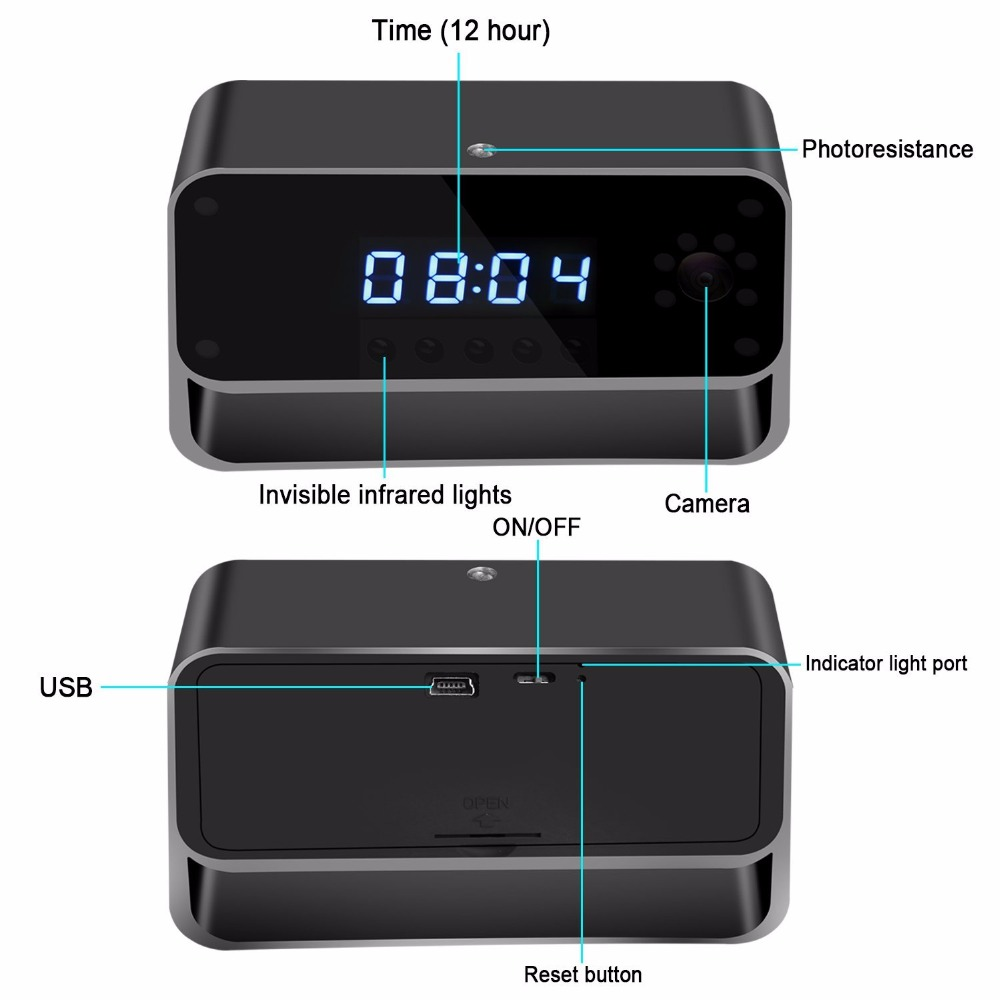 WIFI Camera Clock HD 1080P Wireless Security Cam with Motion Detection for Home Nanny Cameras Starlight Night Vision Remote View