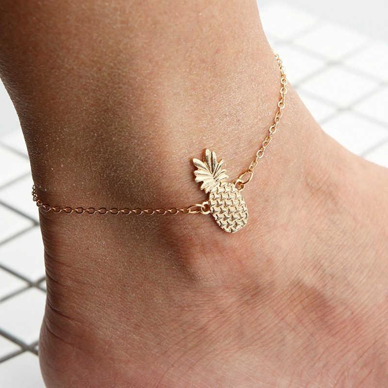 لطيف مخرمة ثلاثي الأبعاد الأناناس الفاكهة خلخال أزياء النساء الكاحل النساء مجوهرات للقدم