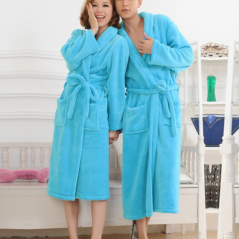 ZDFURS* Thermal Extra Long Flannel Bathrobe Women Men Thick Warm Winter Kimono Bathrobe Solid Bridesmaid Robes Dressing
