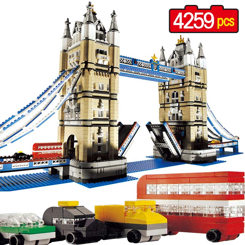 Large Building Blocks Techni City Creator Compatible LegoINGLY World Architecture London Tower Bridge Toys For Children mr froger loz taipei 101 tower diamond block world famous architecture series minifigures building blocks classic toys children