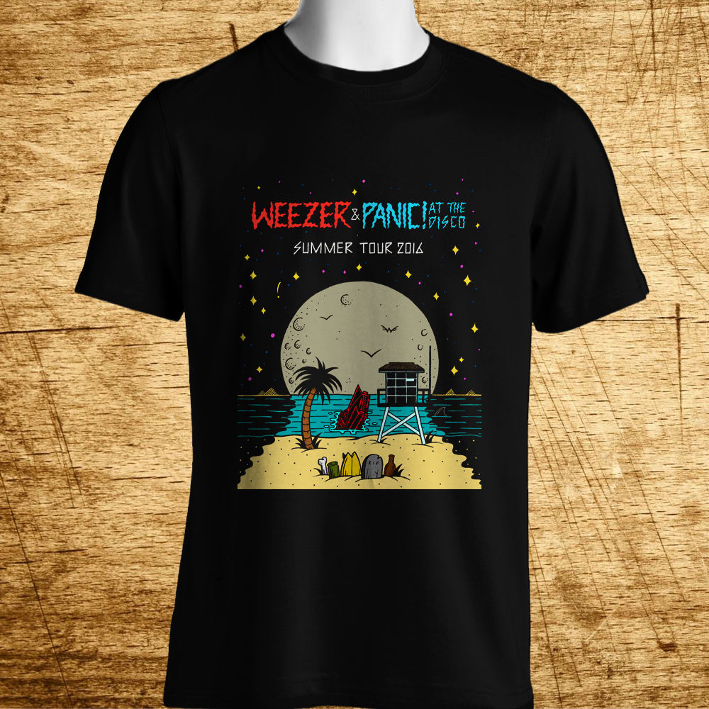 New WEEZER PANIC! AT THE DISCO TOUR Logo Mens Black T-Shirt Size S-5XL