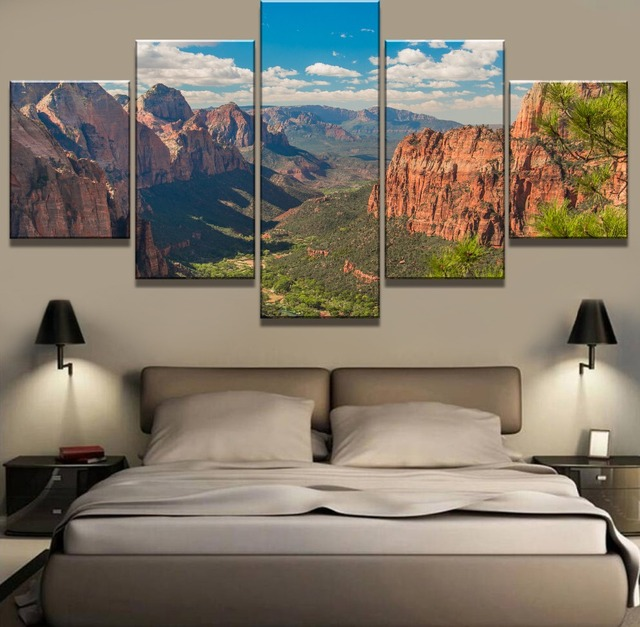 5 Piece Hd Print Painting Grand Canyon Cuadros Landscape Canvas Wall