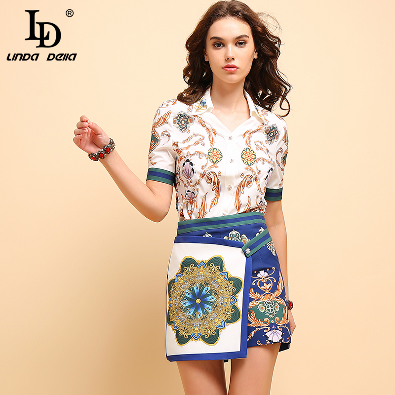 LD LINDA DELLA New 2019 Summer Fashion Suits Women's Short Sleeve Beading Tops Shirt And Vintage Printed Shorts Two Pieces Set