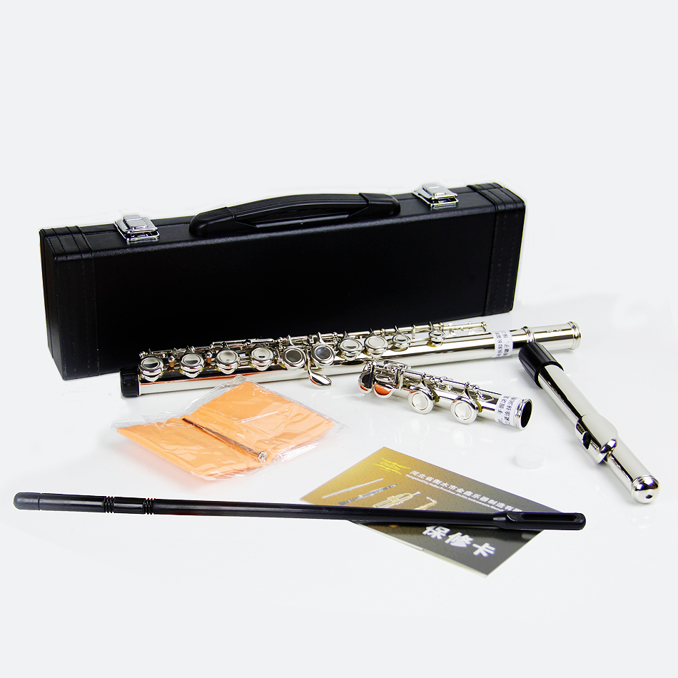 Concert Level 16 Hole E Key C Tune Nickel-plated Flute Cupronickel With hard case wooden flute case hard case rosewood color durable 17 hole b foot flute also c foot flute