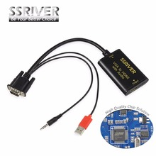 SSRIVER VGA to HDMI Converter 1080P Converter HD Audio AV Converter HDTV Video Cable VGA2HDMI Adapter For TV PC