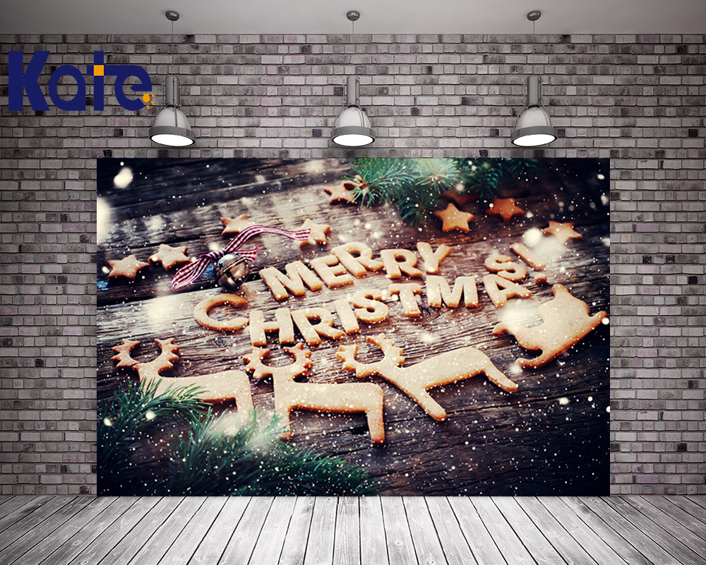 Kate Christmas Photography Backdrops Wood Floor Background Merry Christmas  Biscuit For Children Photo Studio Backdrop kate christmas photo background wood wall and wood floor yellow lights for children photography backdrops stage backgrounds