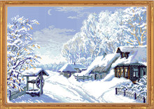 Needlework,11ct/14ct DIY Cross stitch,Sets For Embroidery kits The Middle of Winter Landscape Pattern Cross-Stitch Wall Decor(China)