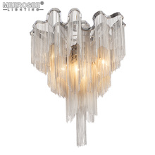 French Empire Chain Chandelier Light Fitting Aluminum Silver Chain Hanging Lamp Luminaire Project Chandeleir Chain Lustre  цена 2017