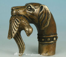 Chinese Old China Bronze Hand Carved Dog Bitten Birds Statue Cane Walking Stick Collect decoration bronze factory outlets