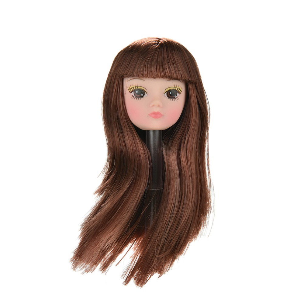 1 Pc Doll Head with Flaxen Long Hair DIY Accessories For Barbie Dolls Baby Toys