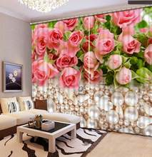 pink rose curtains Window Blackout Luxury 3D Curtains set For Bed room Living room Office Hotel Home Wall Decorative(China)
