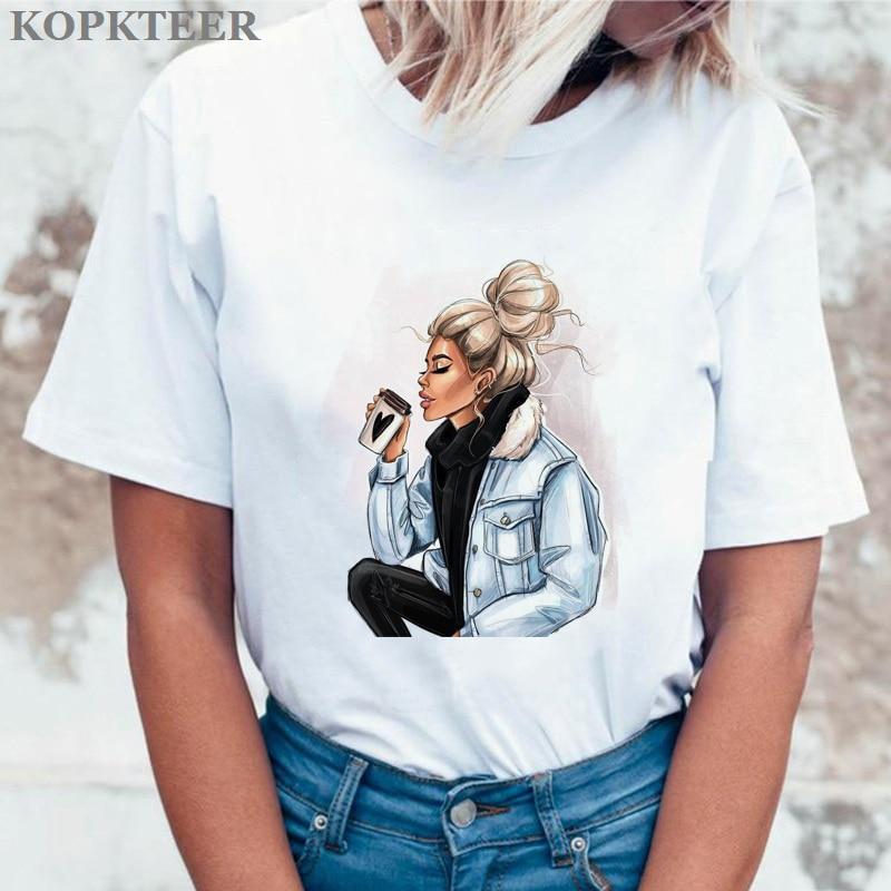 Women Clothing Drink Coffee Graphic Tees Camiseta Mujer Kawaii Tops Aesthetic Tee Shirt Femme Streetwear Harajuku T Shirt