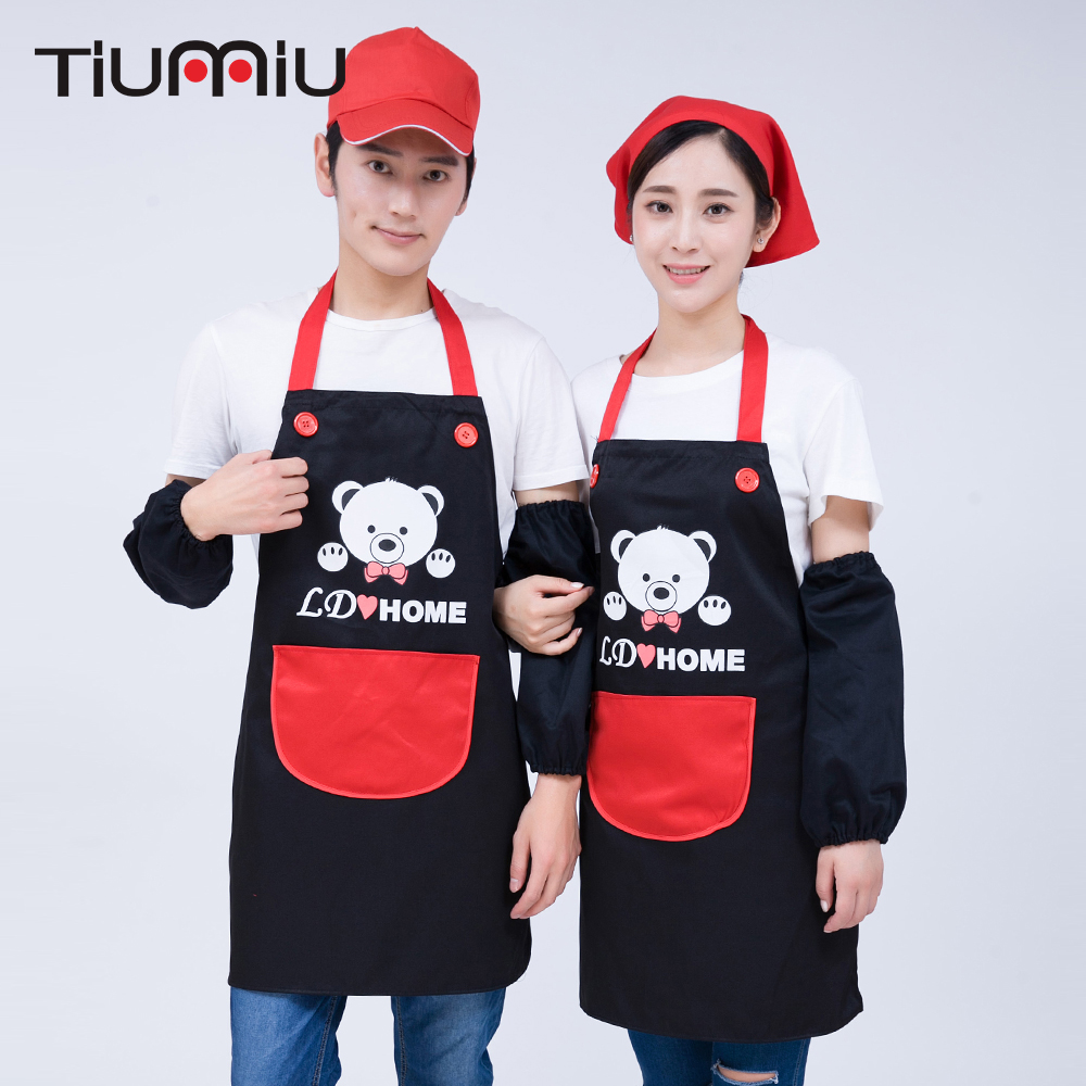 Kawaii Cute Bears Print Chef Apron With Pocket Hanging-Neck Chef Uniforms Kitchen Cafe Hotel Food Service Waiter Workwear Aprons