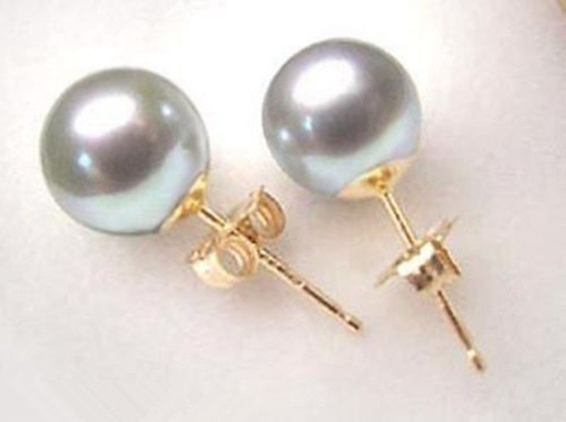 Hot sale new Style >>>>new Fashion jewelry gray shell Pearl stud Earrings 10mm