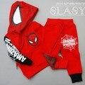 Spider-man traje de niño los niños con gruesa ropa de abrigo para los niños y niñas de invierno establecer nuevos ingresos 2014 otoño