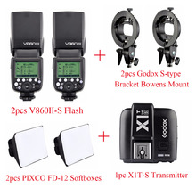 Godox v860ii-s TTL литий-ионный Батарея Вспышка Speedlite для Sony A7 a7s + x1t-s передатчик + Pixco fd-12 + s- тип Кронштейн Bowens крепление