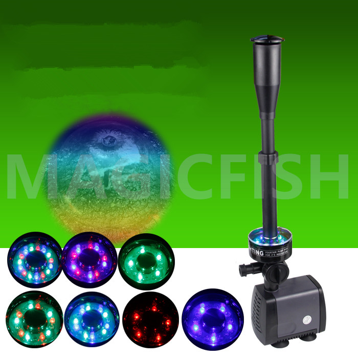 40W 2000L/h Aquarium Pump Pool Fountain Fish Pond Colorful LED Light Submersible Pump Fountain Maker Garden Landscaping