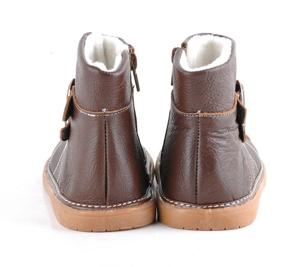 Sandq Детский Мягкие кожаные туфли коричневый детские ботинки с пряжками зимние теплые с пряжкой; в розницу и оптом