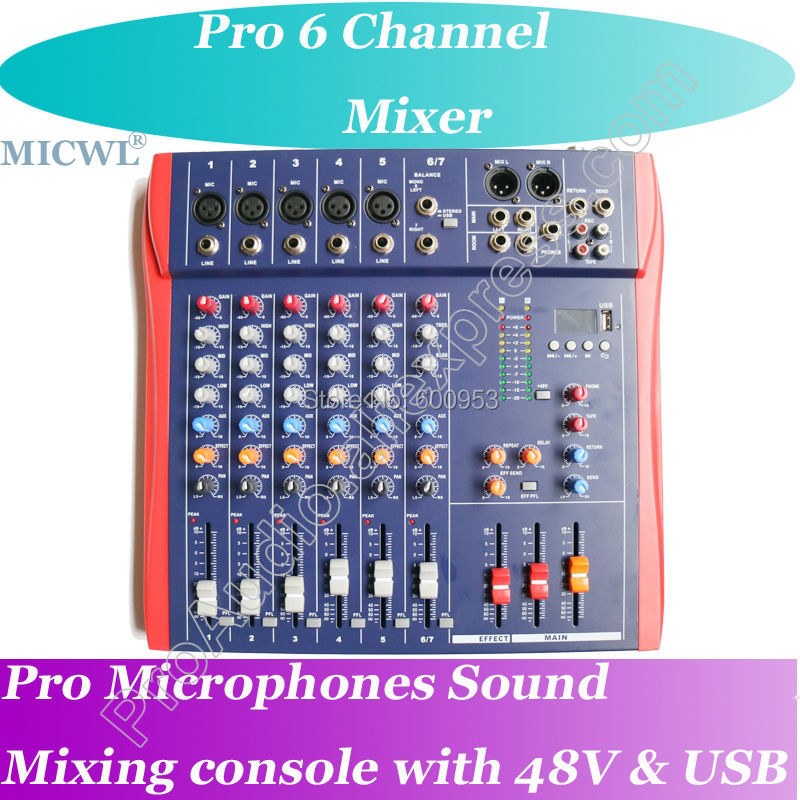 микшер студийный - MICWL CT6 Series Pro Live Studio Microphone Mixing Console Mixer 48V USB  - Meet all your needs