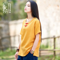 LZJN Short Sleeve T Shirt Cotton Linen White Blusas Chinese Style All Match Female Tshirt Crewneck