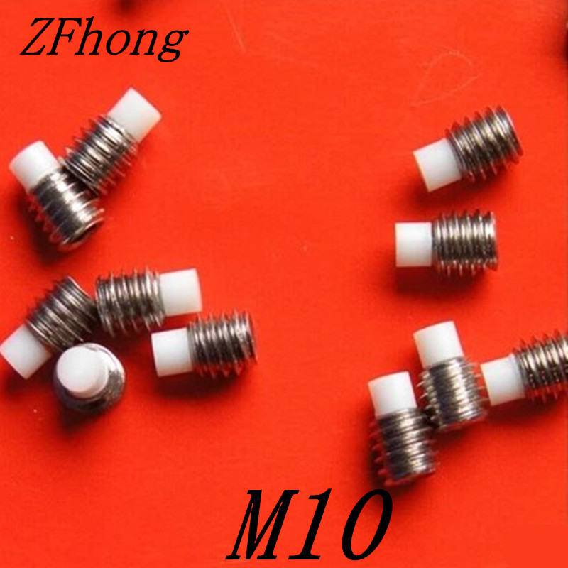 10pcs <font><b>M10</b></font>*8/10/12/16/20/25/30/35/40/45/50 stainless steel hex socket <font><b>nylon</b></font> tip set <font><b>screw</b></font> image