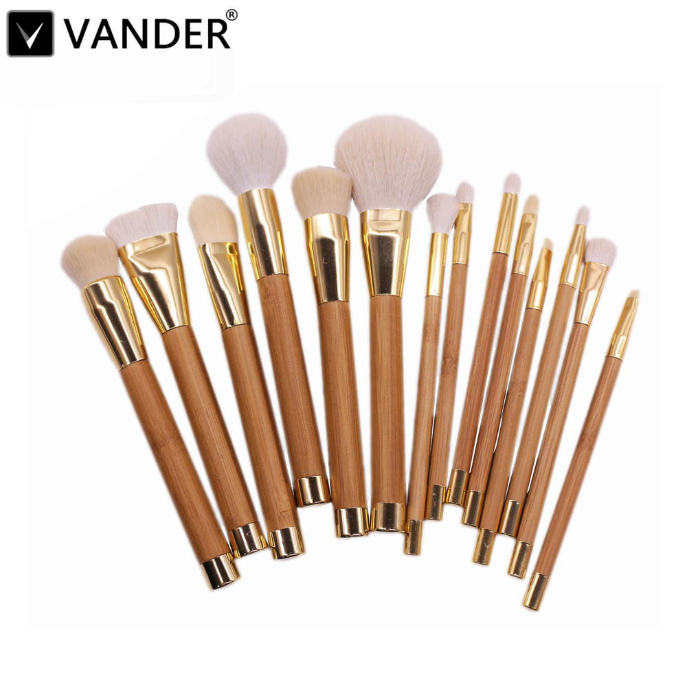 Professional 15pcs Makeup Brushes Set Powder Foundation Eyeshadow Eyeliner Lip Contour Concealer Smudge Brush Tool Khaki NEW 2017 new20pcs foundation eyeshadow eyeliner lip brush tool makeup brushes set powder new