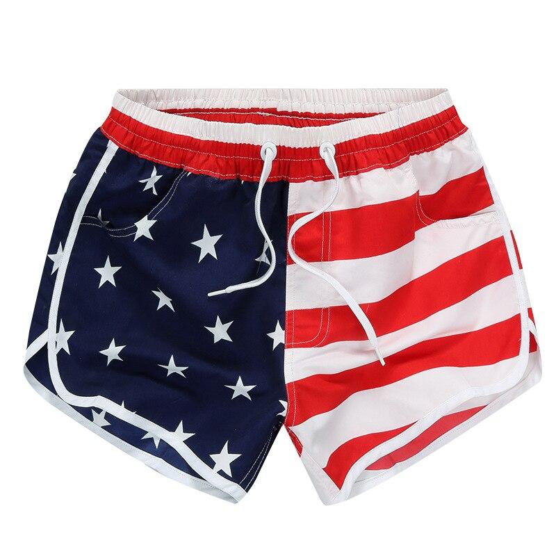 Women US American Flag Beach Casual Summer Board   Shorts
