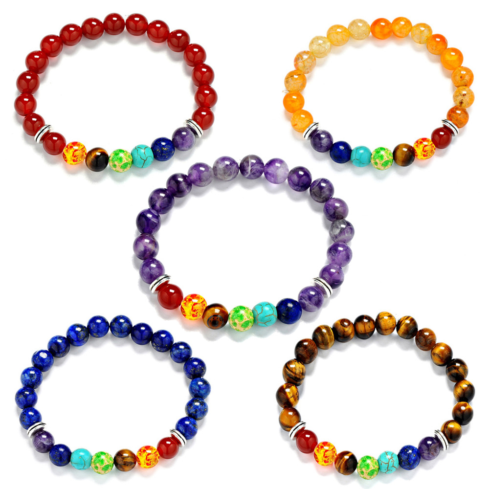 8mm Colorful 7 Sone Chakra Batu Semi Mulia Manik Berwarna Sohoku Gelang Kulit Anyaman Tipis Warni Yoga Energi Penyembuhan Untuk Wanita Man Hadiah