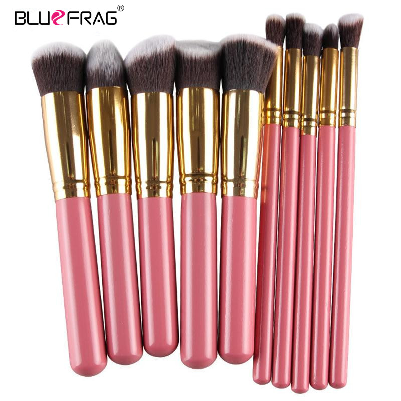BLUEFRAG Silver And Gold Face Makeup Brush 10Pcs Set Powder Blush Contour Foundation Brush For Face Color Cosmetics High Quality bluefrag highlighter makeup brush flawless face brush multipurpose powder foundation blush blbr0132