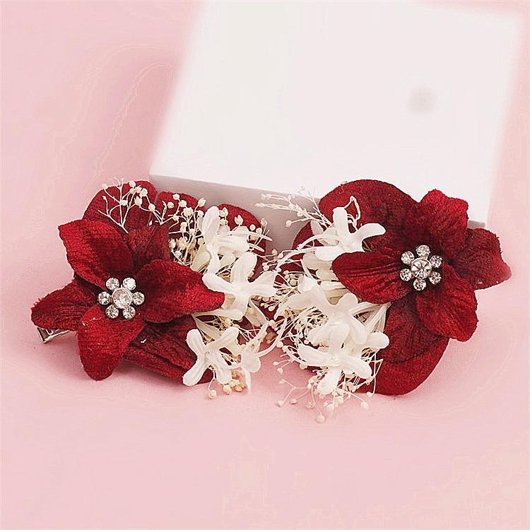Tocado de la novia champagne flores rojas Mantianxing la boda de la joyería de la boda