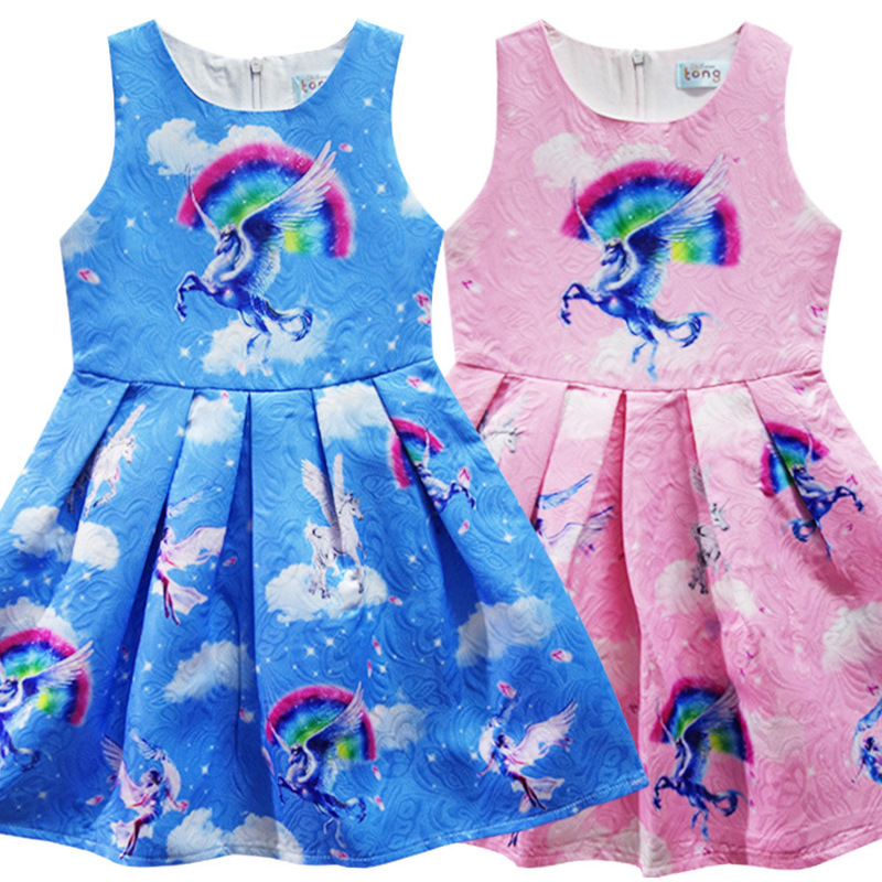 Baby Girls Unicorn Party Dresses A-Line Costumes for Kids Summer Clothes Angel unicornio Princess Dress Children Tunic Jersey fashion baby girls designer clothes 2017 summer party sleeping spell evil kids halloween night angel fairy costume for girls