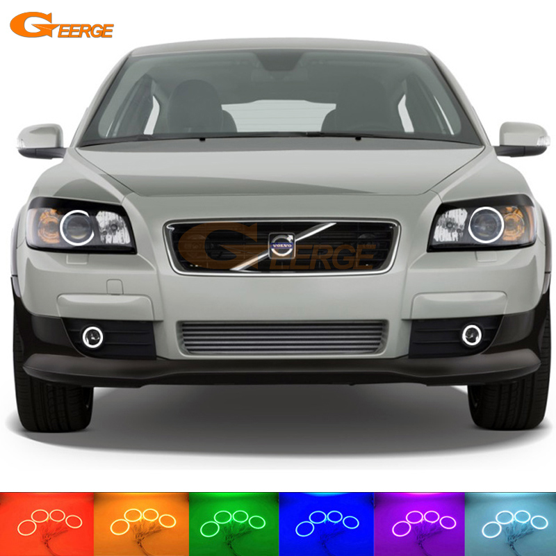For Volvo C30 2007 2008 2009 2010 HEADLIGHT and fog light Excellent 4 pcs Multi-Color Ultra bright RGB LED Angel Eyes kit volvo ветровики дверей c30 2009 classic полупрозрачный хром